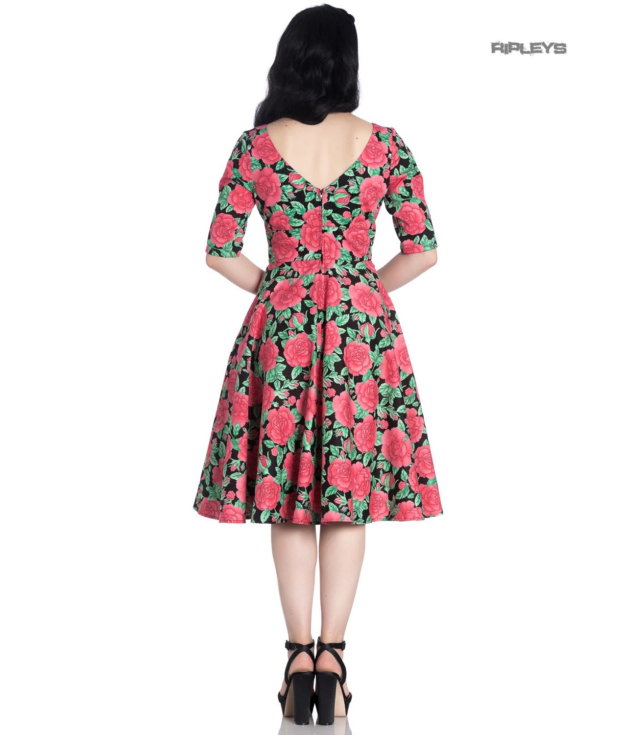 Hell-Bunny-40s-50s-Black-Pin-Up-Vintage-Dress-DARCY-Pink-Roses-All-Sizes thumbnail 4