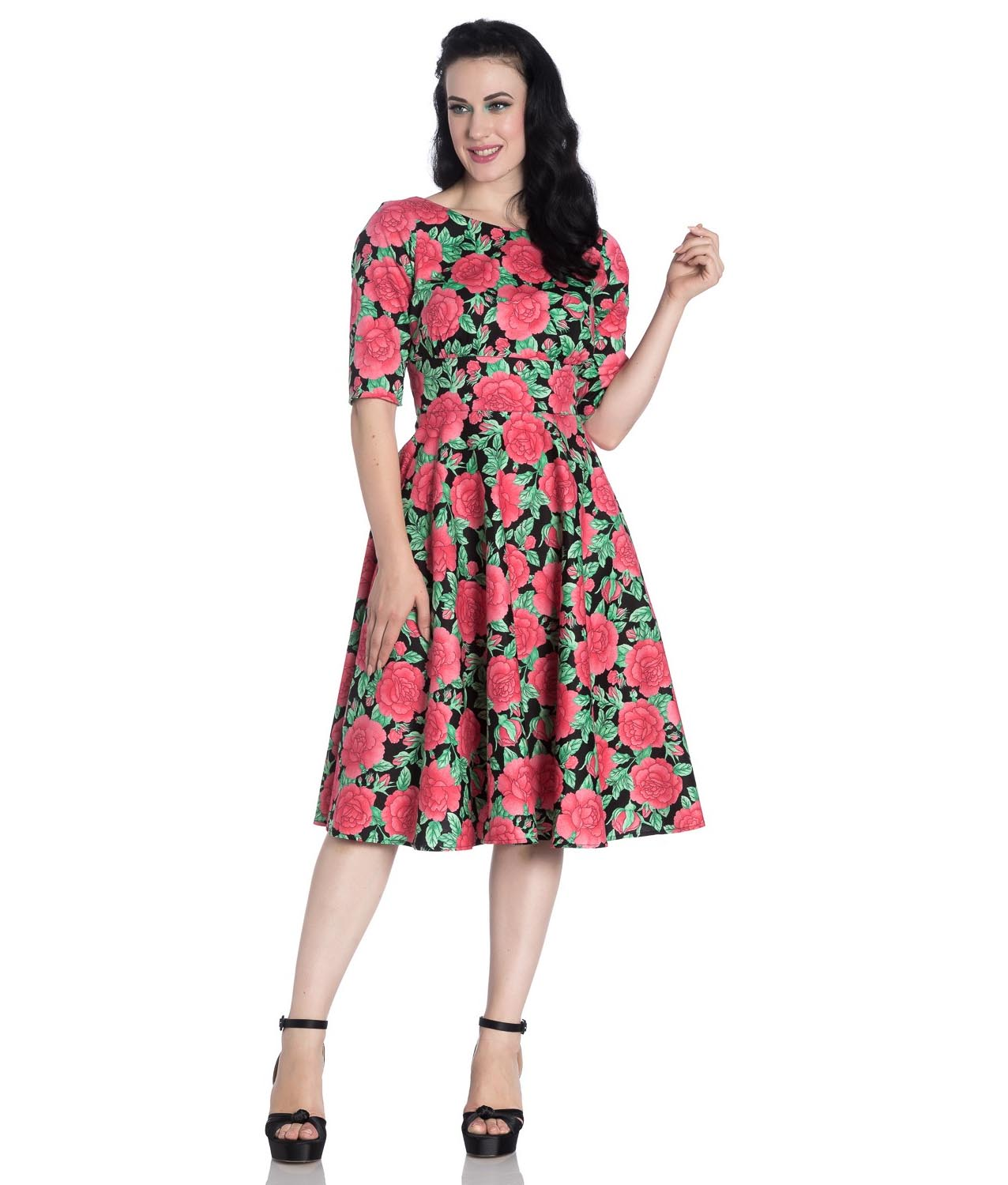 Hell-Bunny-40s-50s-Black-Pin-Up-Vintage-Dress-DARCY-Pink-Roses-All-Sizes thumbnail 3