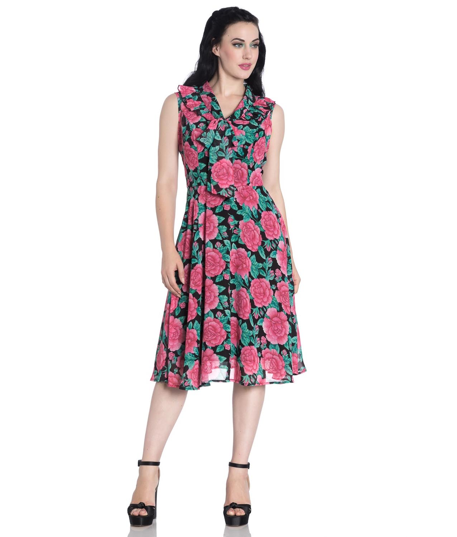 Hell-Bunny-40s-50s-Elegant-Pin-Up-Dress-EDEN-ROSE-Darcy-Black-Chiffon-All-Sizes thumbnail 11