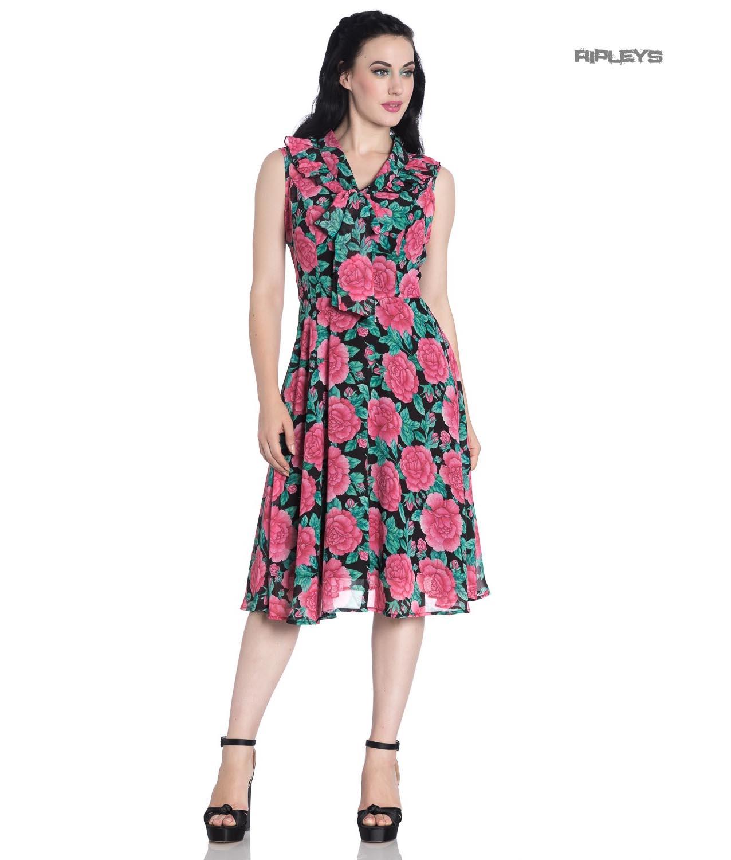 Hell-Bunny-40s-50s-Elegant-Pin-Up-Dress-EDEN-ROSE-Darcy-Black-Chiffon-All-Sizes thumbnail 10