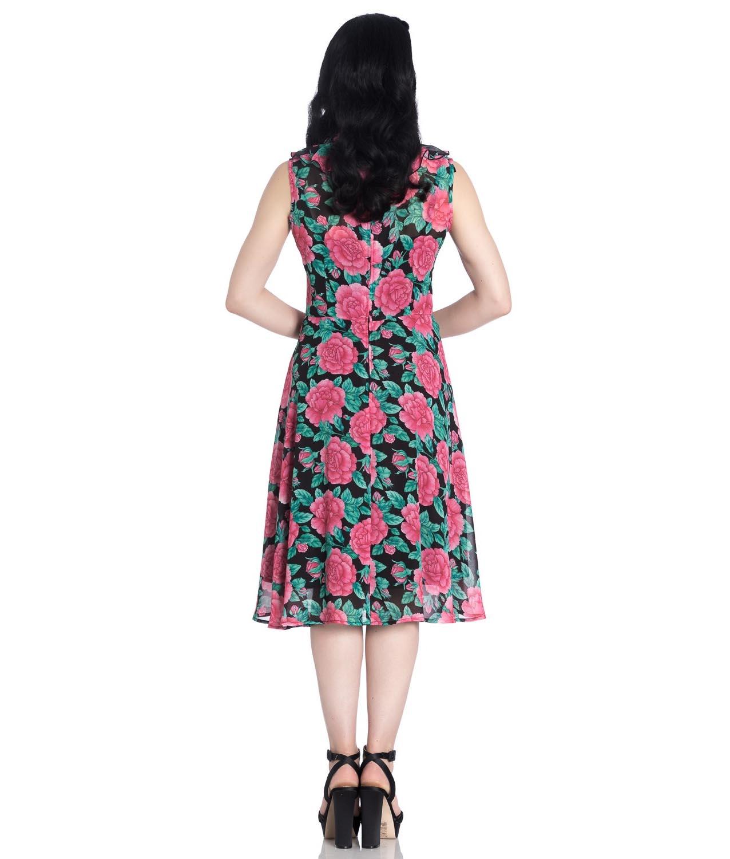 Hell-Bunny-40s-50s-Elegant-Pin-Up-Dress-EDEN-ROSE-Darcy-Black-Chiffon-All-Sizes thumbnail 5