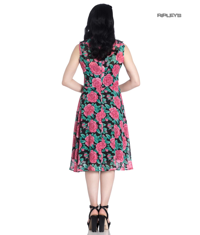 Hell-Bunny-40s-50s-Elegant-Pin-Up-Dress-EDEN-ROSE-Darcy-Black-Chiffon-All-Sizes thumbnail 4