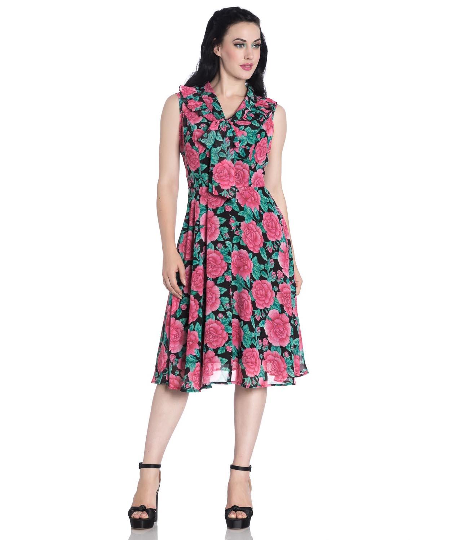 Hell-Bunny-40s-50s-Elegant-Pin-Up-Dress-EDEN-ROSE-Darcy-Black-Chiffon-All-Sizes thumbnail 3