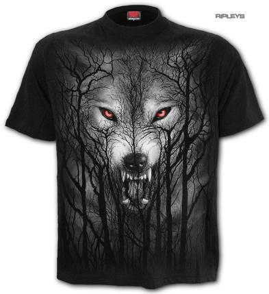 SPIRAL Direct Unisex T Shirt Gothic FOREST Wolf Moon Face All Sizes