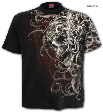 SPIRAL Direct Unisex T Shirt Gothic Filigree AO 'Skull Shoulder Wrap' All Sizes