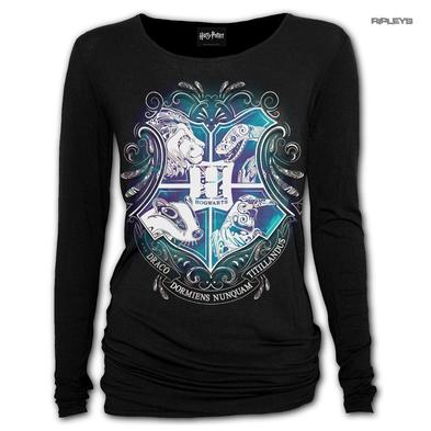 Spiral Ladies Black Harry Potter HOGWARTS Crest L/Sleeve Top All Sizes