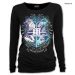 Spiral Ladies Black Harry Potter HOGWARTS Crest L/Sleeve Top All Sizes Thumbnail 1