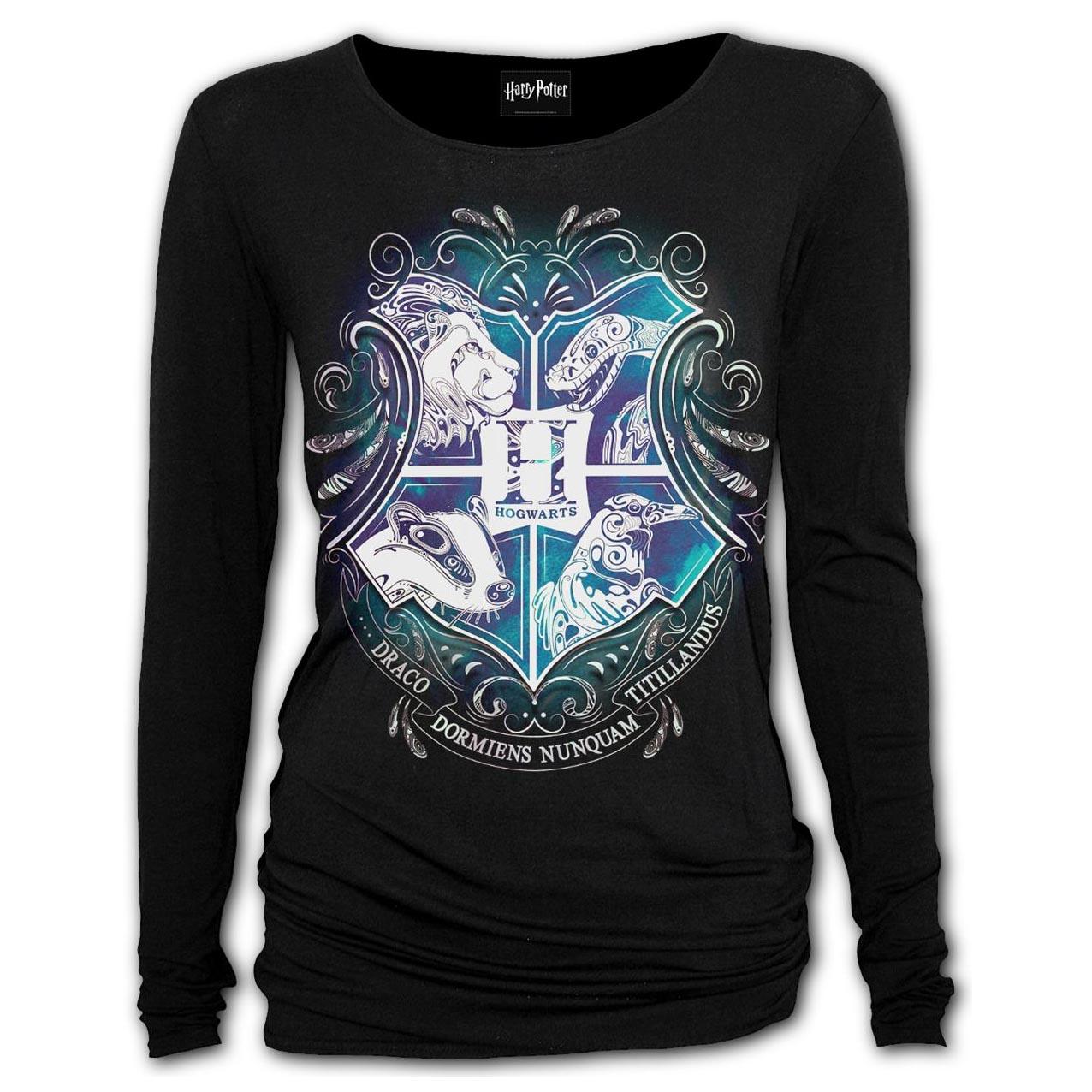 Spiral-Ladies-Black-Harry-Potter-HOGWARTS-Crest-L-Sleeve-Top-All-Sizes thumbnail 3