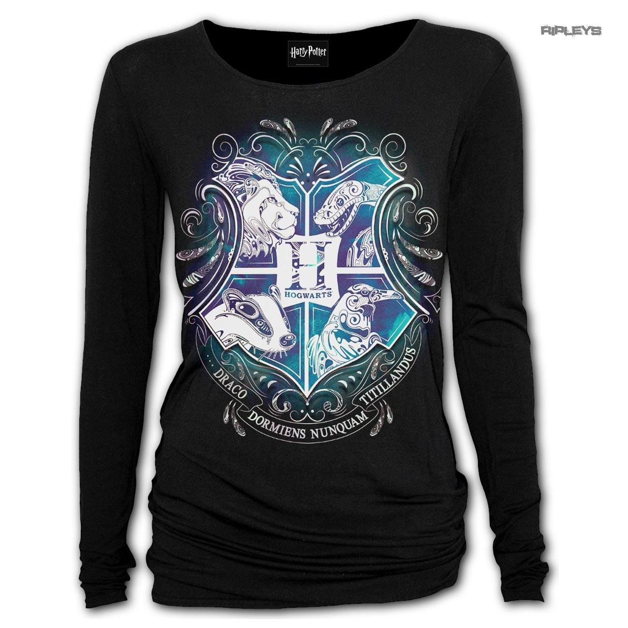Spiral-Ladies-Black-Harry-Potter-HOGWARTS-Crest-L-Sleeve-Top-All-Sizes thumbnail 4