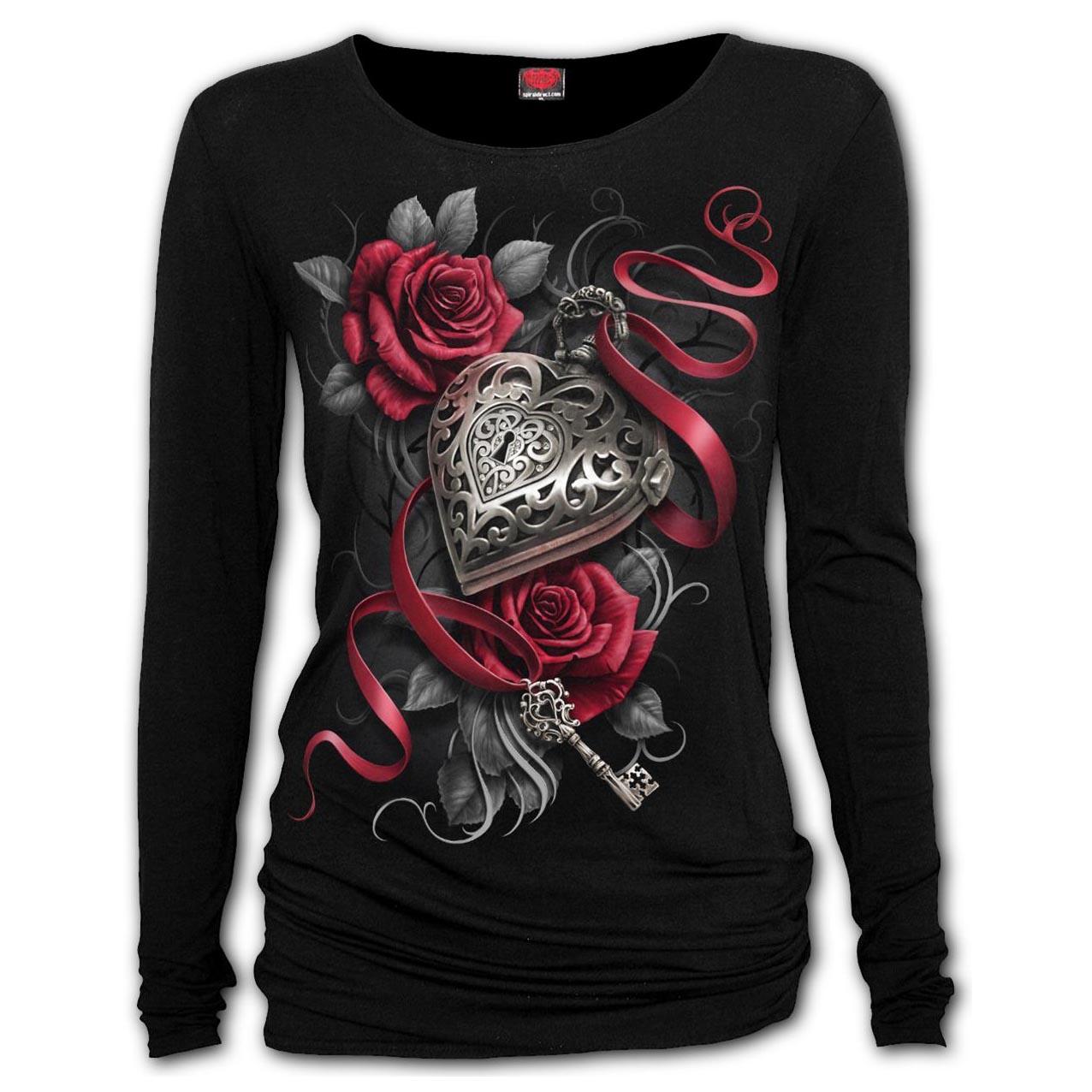 Spiral-Ladies-Black-Gothic-HEART-LOCKET-Rose-Key-L-Sleeve-Top-All-Sizes thumbnail 5