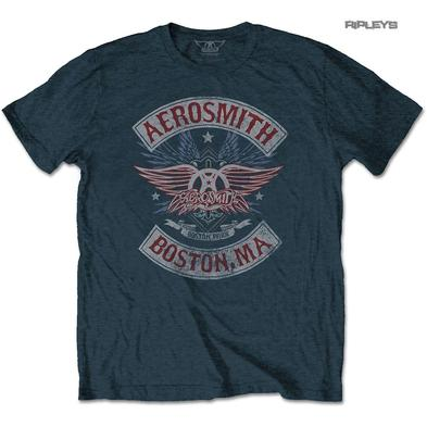 Official T Shirt AEROSMITH Denim Blue 'Boston Pride' Vintage All Sizes