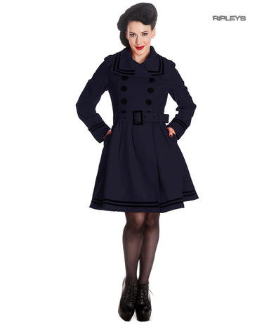 Hell Bunny 50s Vintage Rockabilly Winter Coat MILLIE Navy Dark Blue