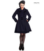 Hell Bunny 50s Vintage Rockabilly Winter Coat MILLIE Navy Dark Blue Thumbnail 1