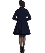 Hell Bunny 50s Vintage Rockabilly Winter Coat MILLIE Navy Dark Blue Thumbnail 4