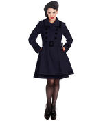 Hell Bunny 50s Vintage Rockabilly Winter Coat MILLIE Navy Dark Blue Thumbnail 2