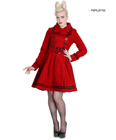 Hell Bunny 40s 50s Vintage Rockabilly Winter Coat MILLIE Red All Sizes