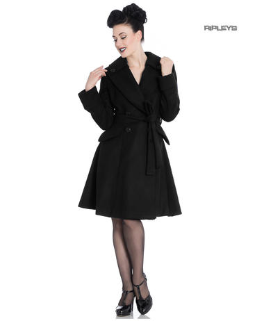 Hell Bunny 50s Vintage Black Knee Length OLGA Wrap Winter Coat All Sizes