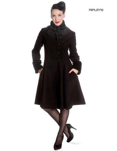 Hell Bunny 50s Vintage Rockabilly Winter Lace Coat ANGELINE Black Preview