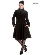 Hell Bunny 50s Vintage Rockabilly Winter Lace Coat ANGELINE Black Thumbnail 1
