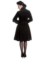 Hell Bunny 50s Vintage Rockabilly Winter Lace Coat ANGELINE Black Thumbnail 4