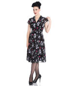 Hell Bunny 40s 50s Elegant Pin Up Dress BELLEVILLE Roses Black Chiffon All Size Thumbnail 2