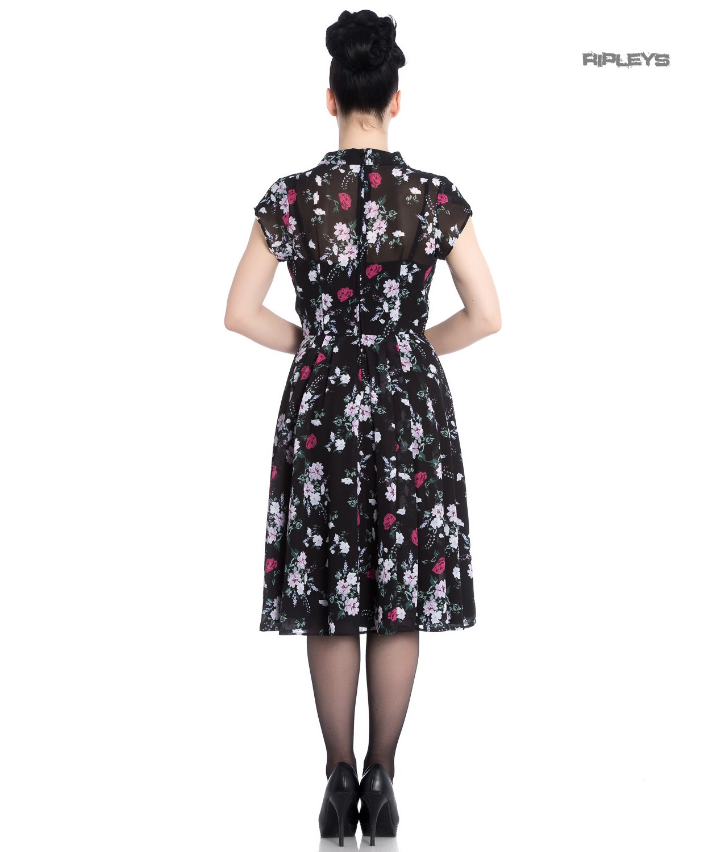 Hell-Bunny-40s-50s-Elegant-Pin-Up-Dress-BELLEVILLE-Roses-Black-Chiffon-All-Size thumbnail 16