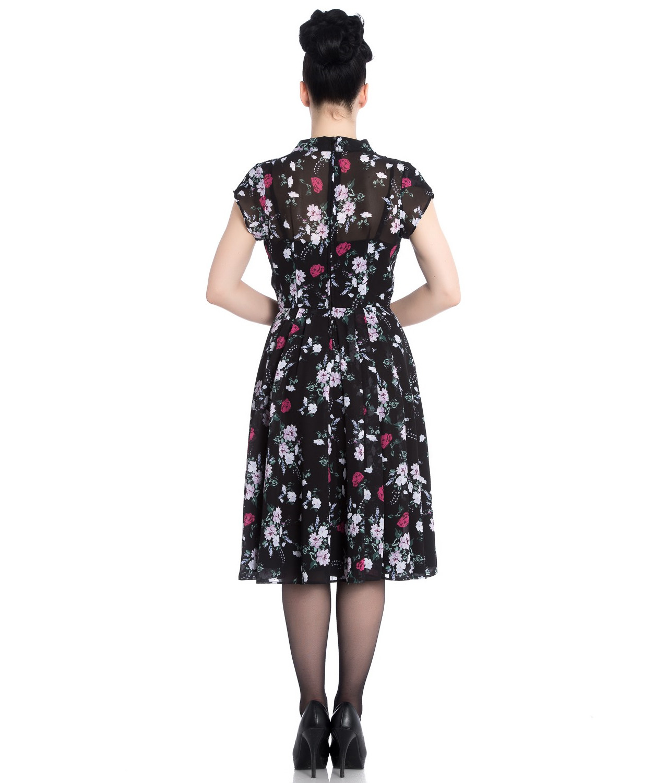 Hell-Bunny-40s-50s-Elegant-Pin-Up-Dress-BELLEVILLE-Roses-Black-Chiffon-All-Size thumbnail 5