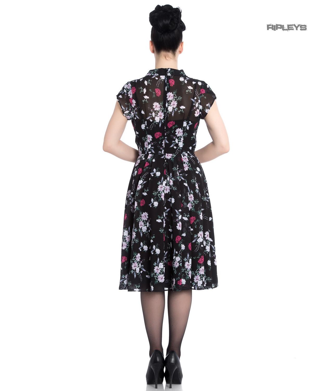 Hell-Bunny-40s-50s-Elegant-Pin-Up-Dress-BELLEVILLE-Roses-Black-Chiffon-All-Size thumbnail 4