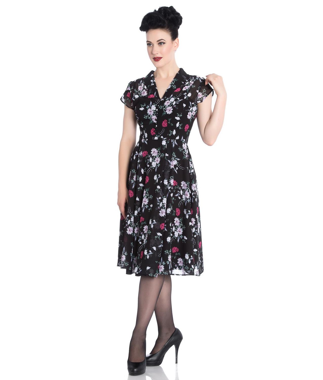 Hell-Bunny-40s-50s-Elegant-Pin-Up-Dress-BELLEVILLE-Roses-Black-Chiffon-All-Size thumbnail 3