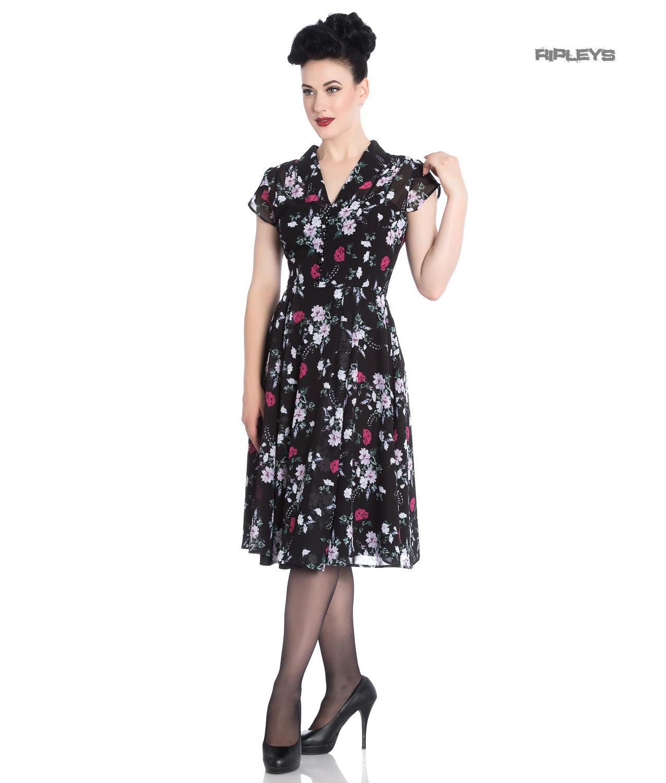 Hell-Bunny-40s-50s-Elegant-Pin-Up-Dress-BELLEVILLE-Roses-Black-Chiffon-All-Size thumbnail 6