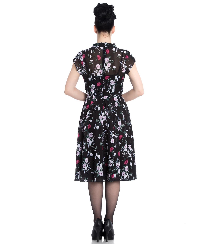 Hell-Bunny-40s-50s-Elegant-Pin-Up-Dress-BELLEVILLE-Roses-Black-Chiffon-All-Size thumbnail 9