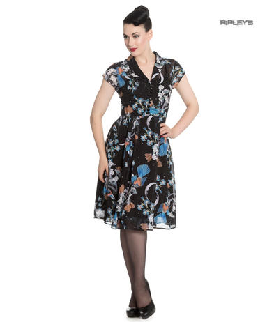 Hell Bunny 40s 50s Elegant Pin Up Dress STARRY NIGHT Black Chiffon All Size Preview