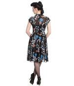 Hell Bunny 40s 50s Elegant Pin Up Dress STARRY NIGHT Black Chiffon All Size Thumbnail 4