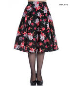 Hell Bunny 50 Skirt Vintage Pin Up LILIANA Flowers Floral Black All Sizes Thumbnail 1