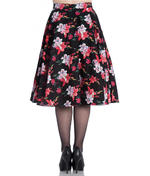 Hell Bunny 50 Skirt Vintage Pin Up LILIANA Flowers Floral Black All Sizes Thumbnail 4