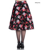 Hell Bunny 50 Skirt Vintage Pin Up LILIANA Flowers Floral Black All Sizes Thumbnail 3
