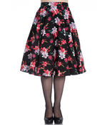 Hell Bunny 50 Skirt Vintage Pin Up LILIANA Flowers Floral Black All Sizes Thumbnail 2