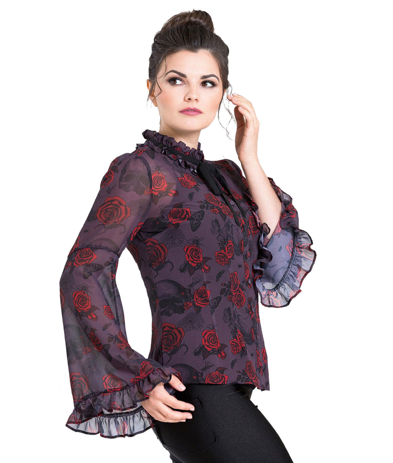 Hell-Bunny-Chiffon-Shirt-Top-Gothic-Floaty-BUGS-amp-ROSES-Purple-Blouse-All-Sizes thumbnail 7