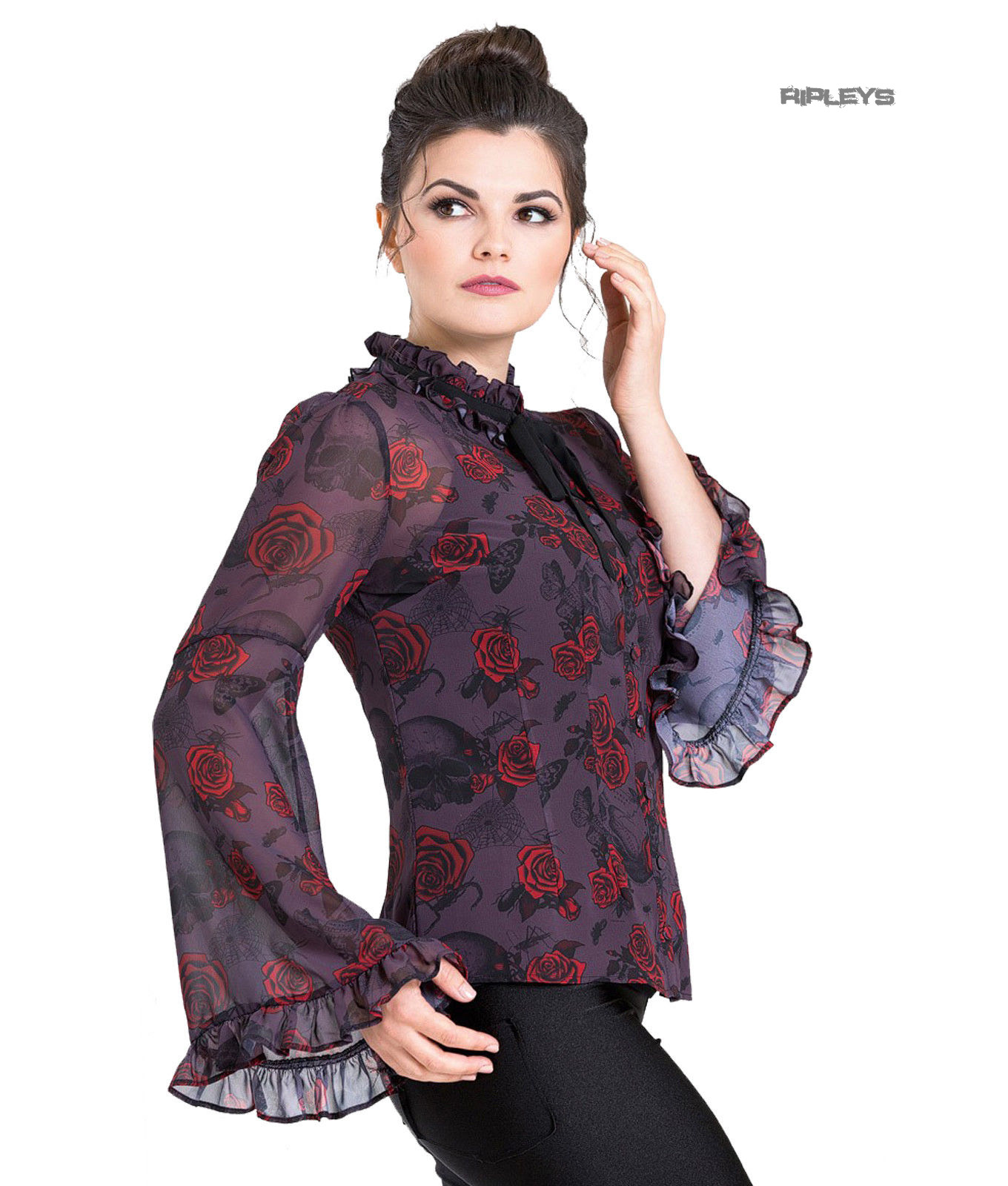 Hell-Bunny-Chiffon-Shirt-Top-Gothic-Floaty-BUGS-amp-ROSES-Purple-Blouse-All-Sizes thumbnail 16