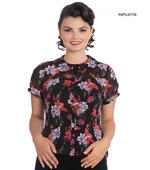 Hell Bunny 50s Chiffon Shirt Top RAYNA Black Blouse Roses Lillies All Sizes Thumbnail 1