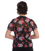 Hell Bunny 50s Chiffon Shirt Top RAYNA Black Blouse Roses Lillies All Sizes Thumbnail 4