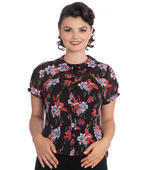 Hell Bunny 50s Chiffon Shirt Top RAYNA Black Blouse Roses Lillies All Sizes Thumbnail 2