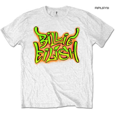 Official T Shirt BILLIE EILISH 'Graffiti' White All Sizes