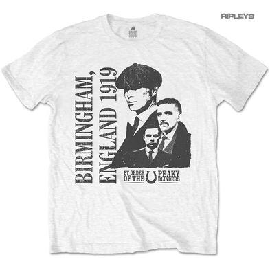 Official T Shirt PEAKY BLINDERS Shelby Birmingham 'England 1919' White All Sizes