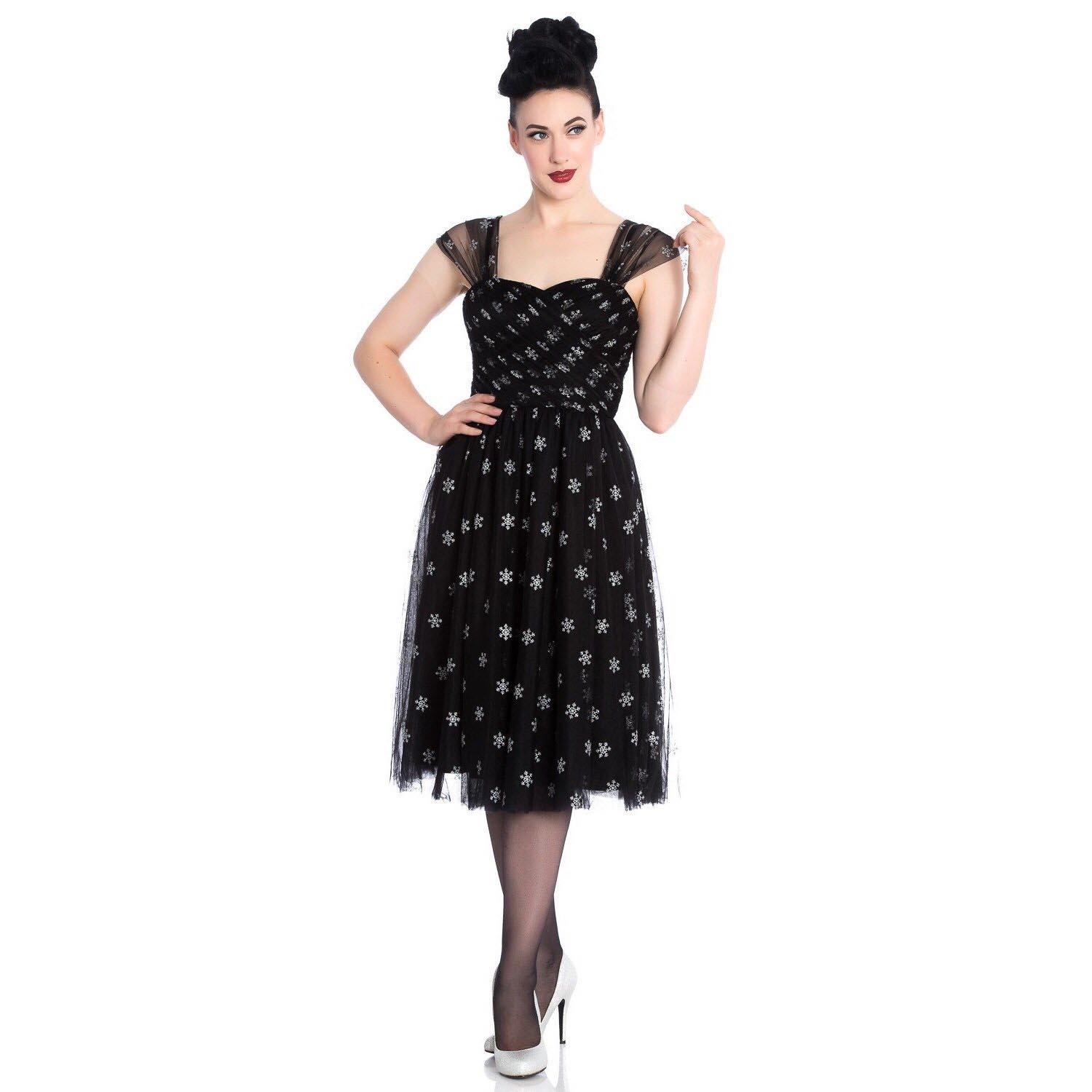 Hell-Bunny-50s-Black-Christmas-Dress-SNOWSTAR-Glitter-Snowflakes-All-Sizes thumbnail 3