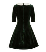 Hell Bunny Mini Skater Dress Festive Christmas NICOLA Green Velvet All Sizes Thumbnail 4