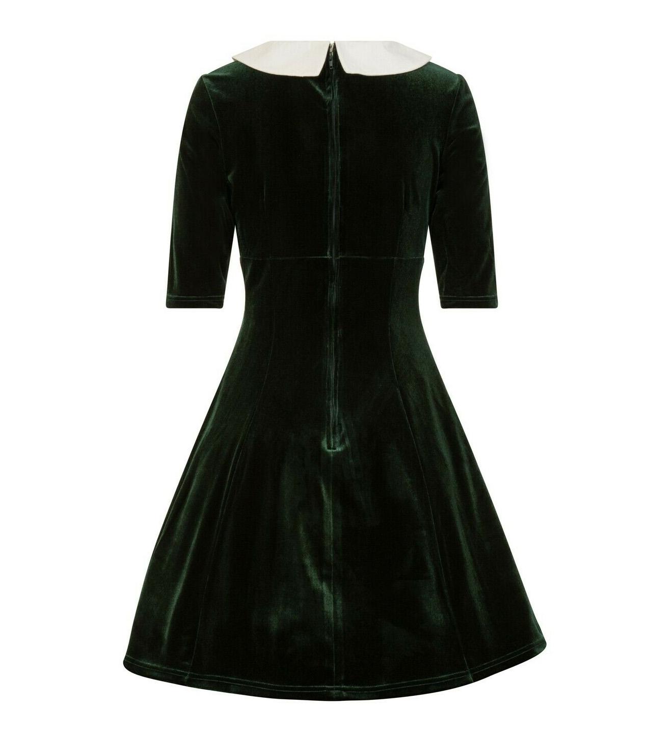 Hell-Bunny-Mini-Skater-Dress-Festive-Christmas-NICOLA-Green-Velvet-All-Sizes thumbnail 5