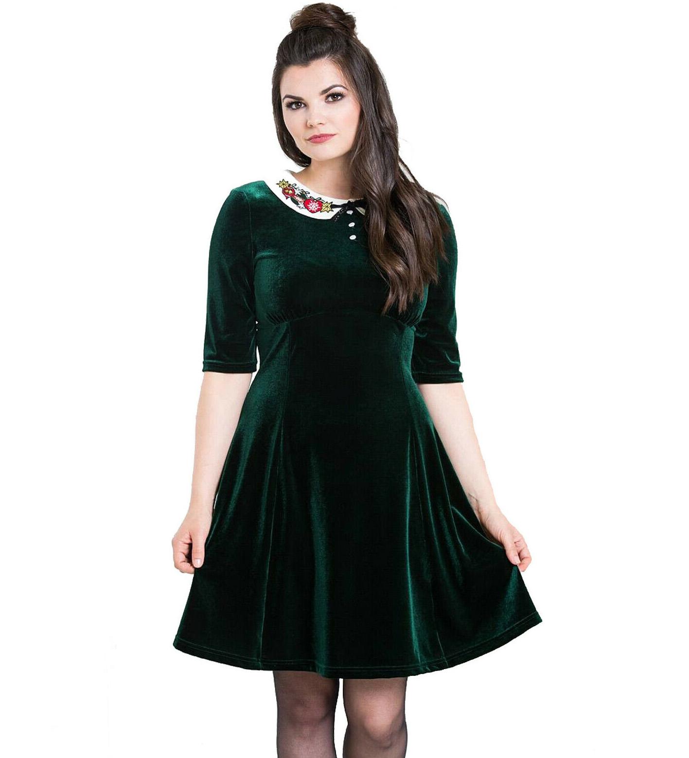 Hell-Bunny-Mini-Skater-Dress-Festive-Christmas-NICOLA-Green-Velvet-All-Sizes thumbnail 3