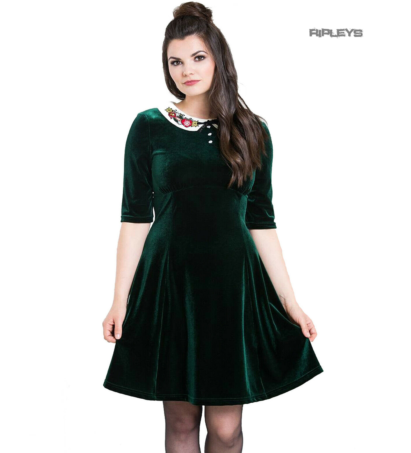 Hell-Bunny-Mini-Skater-Dress-Festive-Christmas-NICOLA-Green-Velvet-All-Sizes thumbnail 14