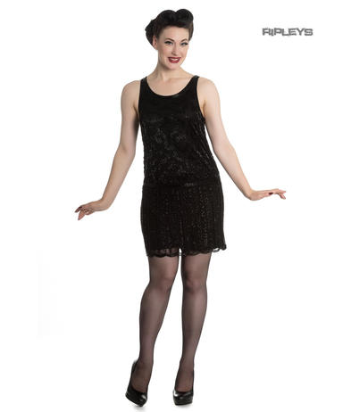 Hell Bunny 1920s Costume Black Mini Flapper Dress JOBYNA Sequin All Sizes